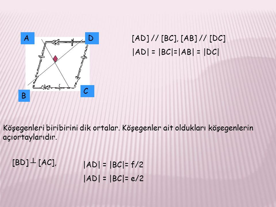 A D. [AD] // [BC], [AB] // [DC] |AD| = |BC|=|AB| = |DC| C. B.